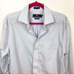 Vineyard Vines Blue White Stripe Button Up Shirt M
